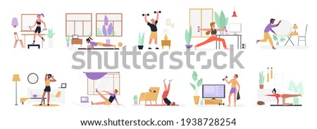 People do sport exercises at home vector illustration set. Cartoon young man woman sportive characters in sportswear training with dumbbells and ball, healthy fitness sports workout isolated on white
