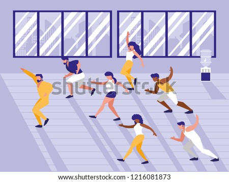 people doing aerobics avatar character
