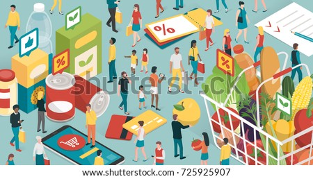 People doing grocery shopping, they are buying products and filling a shopping basket with healthy fresh food and using apps on a smartphone