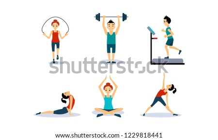 People doing sport exercises set, men and women jumping rope, running on a treadmill, doing fitness and yoga exercises, active healthy lifestyle concept vector Illustration
