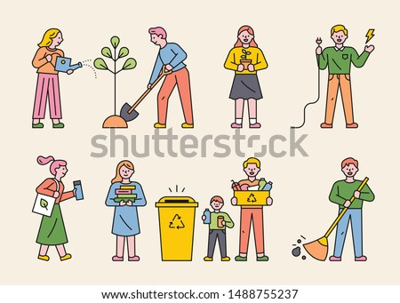 People doing various environmental protection campaigns. flat design style minimal vector illustration.