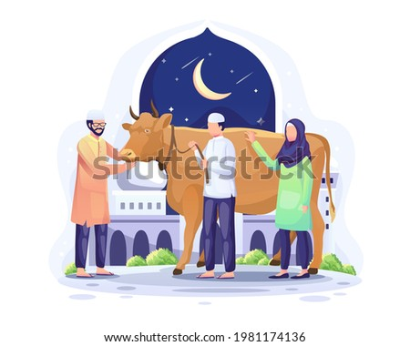People donate a cow to be sacrificed or qurban on Eid al Adha Mubarak. Flat vector illustration