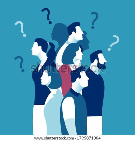 People, doubt, questions. Vector illustration of group of people and question marks