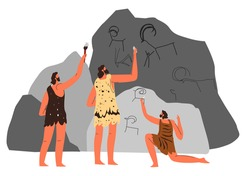 People drawing paintings on cave walls, prehistoric art and depiction of hunting scenes. Antique ornaments and primitive symbols. Figures of buffalo and goat. Vector in flat style illustration
