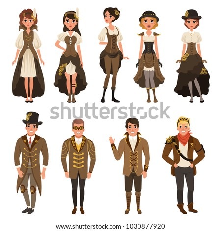 Shutterstock People dressed in historic clothes, man and woman wearing brown fantasy costume set vector Illustrations on a white background