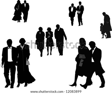 People dressed up, silhouettes