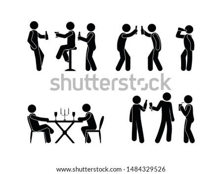 people drink spirits drinks icon set, stick figure illustration bar, restaurant, stickman with a bottle in hand