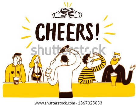 People drinking at the bar. Cheers title.  Cartoon vector illustration for your design.
