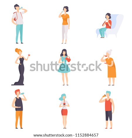 People drinking beverages set, men and women drinking tea, coffee, water, wine, milk vector Illustrations on a white background