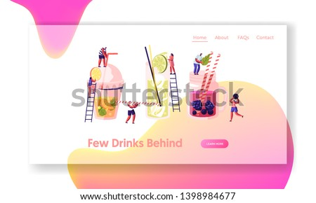 People Drinking Cold Drinks, Choose Different Beverages in Summer Time. Glass and Plastic Cups with Straw, Fruits, Ice Cubes. Website Landing Page, Web Page. Cartoon Flat Vector Illustration, Banner