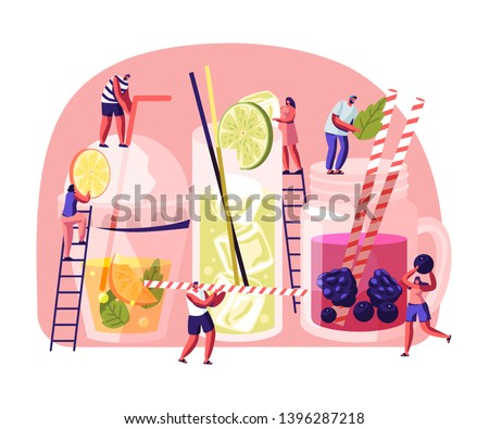 People Drinking Cold Drinks. Male and Female Characters Choose Different Beverages in Summer Time. Glass and Plastic Cups with Straw, Fruits, Ice Cubes in Juice Water. Cartoon Flat Vector Illustration