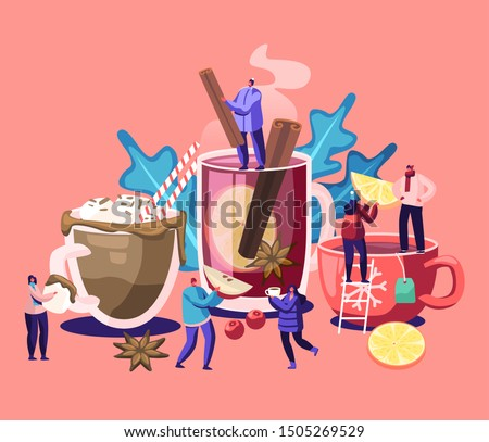 People Drinking Hot Drinks. Male and Female Characters Choose Different Beverages in Cold Autumn and Winter Time. Tea Cups with Straw, Lemon Slices, Vanilla Sticks. Cartoon Flat Vector Illustration