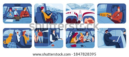 People driving car, drivers flat vector illustrations set. Road transport, auto, vehicle. Taxi, drive with pets. Friends in vehicle finding route on map. Man and woman travel in automobile.