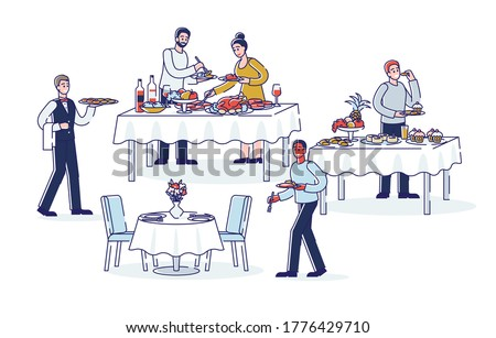 People during buffet dinner. Cartoon dining at buffet catering food from served tables and waiters serving. Business event, celebration, wedding or party catering concept. Linear vector illustration