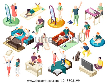 People during various activity at home on weekend set of isometric icons isolated vector illustration Stock photo ©