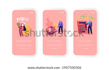 People Earn Money Mobile App Page Onboard Screen Template. Tiny Characters with Huge Piggy Bank, Calculator and Cash, Make Savings, Earning and Payments, Wealth Concept. Cartoon Vector Illustration