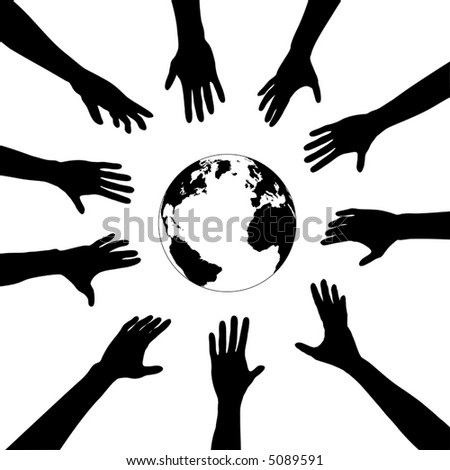 People & Earth: A circle of human hands reach out to a silhouette of the globe.