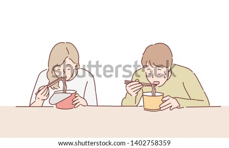 People eat noodle/ramen instant with chopstick. Hand drawn style vector design illustrations.