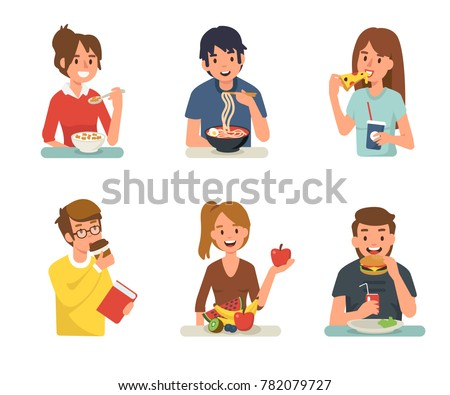 People eating different meals. Flat style vector illustration isolated on white background. #782079727