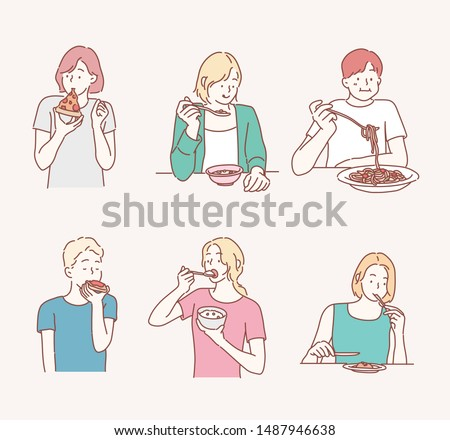 People eating different meals. Hand drawn style vector design illustrations.