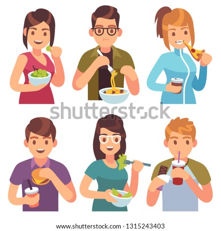 People eating. Eat drinking food men women healthy tasty dishes meals cafe casual lunch hungry friends, cartoon vector illustration #1315243403