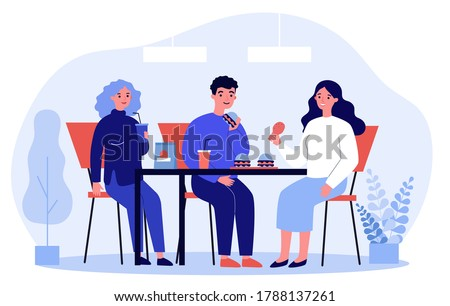 People eating fast food. Restaurant customers eating burgers at table flat vector illustration. Junk food, unhealthy habit, catering concept for banner, website design or landing web page