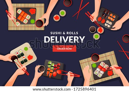 People eating japanese meal with chopsticks. Top view flat cartoon vector illustration of hands and sushi, maki, rolls assortment dishes. Asian restaurant banner, poster, menu design elements