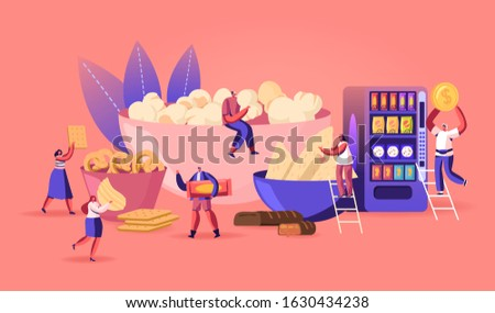 People Eating Snacks Concept. Tiny Male and Female Characters Enjoying Different Dry Appetizers Pop Corn, Pretzel Biscuits Chips Sweets and Donuts, Vending Machine. Cartoon Flat Vector Illustration