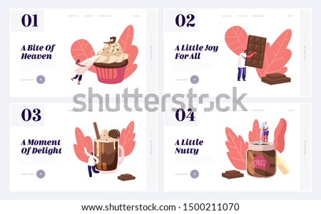 People Eating Sweet Chocolate Food Website Landing Page Set. Tiny Characters among Huge Choco Dessert Dishes in Confectionery or Bakery Shop Concept Web Page Banner. Cartoon Flat Vector Illustration