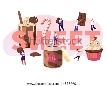 People Eating Sweet Food Concept. Tiny Male and Female Characters among Huge Chocolate Dessert Dishes, Pastry, Cupcake, Candy Cane, Cocktail Poster Banner Flyer Brochure. Cartoon Flat Vector Illustration