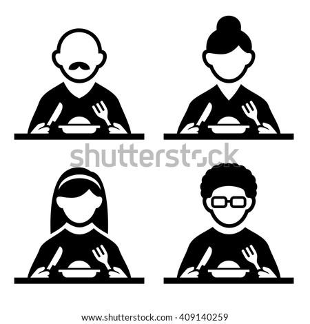 People Eating Tasting Food Pictogram Icon Set. Vector