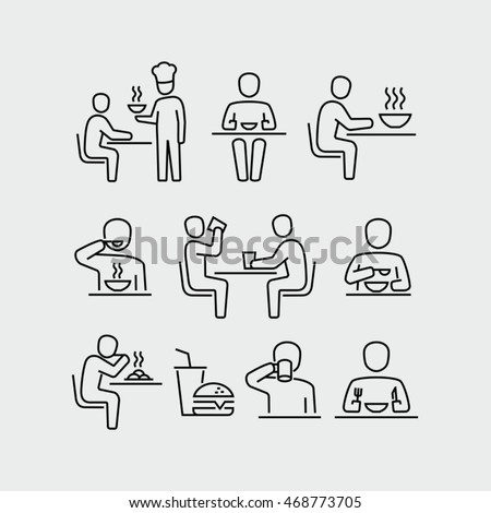 People Eating Vector Icons