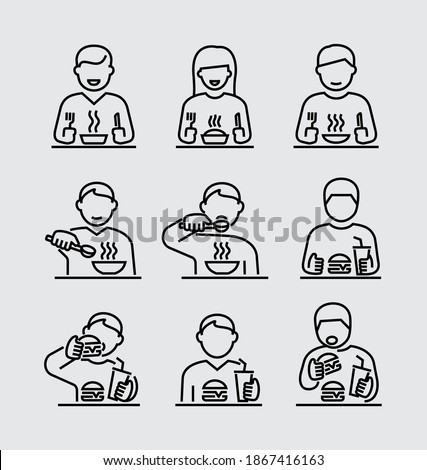People Eating Vector Line Icons