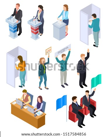 People election isometric. Politic voting booth political debate voters debating candidate decision vote interview vector isolated set