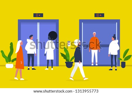 People. Elevator. Business center hall. Office. Walking and standing characters. Weekday life. Flat editable vector illustration, clip art