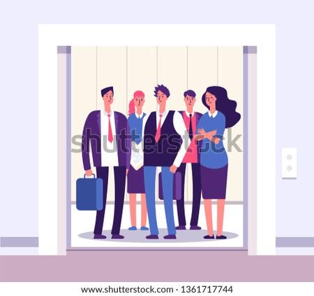 People elevator. Lift persons standing woman man group inside elevators office interior with open door business vector concept