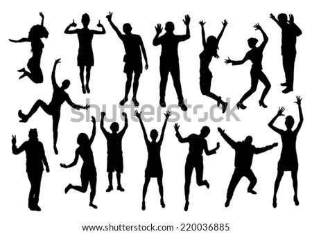 People Emotions Silhouettes Set