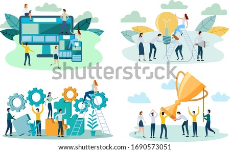 People enjoy success in business, demonstrate adaptive design, show a light bulb and use gears.A set of flat vector illustrations.