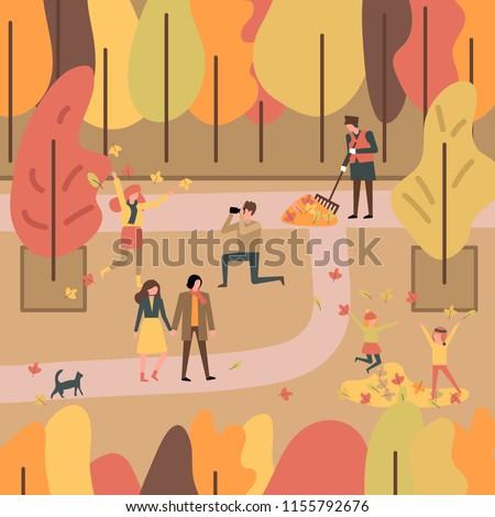 people enjoying autumn in a