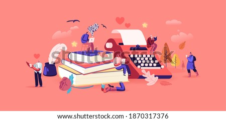 People Enjoying Reading Literature and Writing Poetry or Prose Concept. Tiny Characters at Huge Books Read Classic Verses, Poems. Ink Feather Usage, Romantic Mood. Cartoon People Vector Illustration