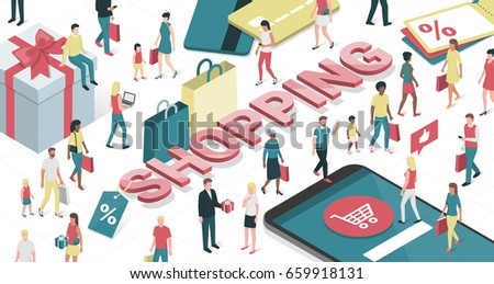People enjoying shopping online and purchasing products: technology, social media and retail concept