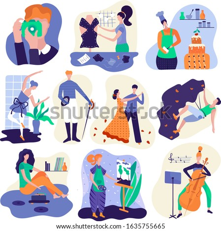 People enjoying their hobbies, cartoon characters vector illustration. Photography, baking, dancing, painting and designing fashion clothes. Set of isolated stickers in flat style. Hobby and leisure
