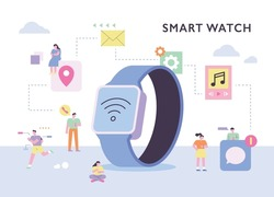 People enjoying various lifestyles around a giant smart watch. flat design style vector illustration.