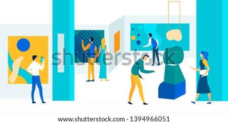 People Enjoying Watching Creative Artworks or Exhibits in Museum. Exhibition Visitors Viewing Modern Abstract Paintings Hanging on Walls at Contemporary Art Gallery. Cartoon Flat Vector Illustration