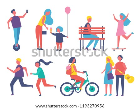 People entertaining in park cartoon isolated vector banner. Children running playing games, riding bike skateboard and unicycle, ice cream and balloon