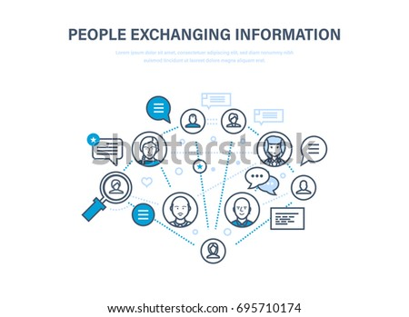 People exchanging information. Communications, technical support and feedback. Internet network, people and social network, dialogue, cloud services. Illustration thin line design of vector doodles