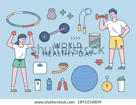 People exercising and fitness equipment icon set. flat design style minimal vector illustration.