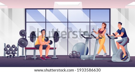 People exercising in fitness gym. Room with sport equipment for workouts vector illustration. Woman and men training on treadmill, bike, lifting dumbbells. Healthy lifestyle.
