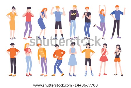 People expressing different emotions flat composition vector illustration