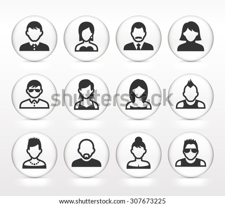 People Face Set on White Round Buttons